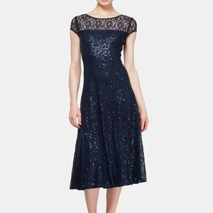 SL Fashions Sequined Lace Midi Dress Navy Size 16